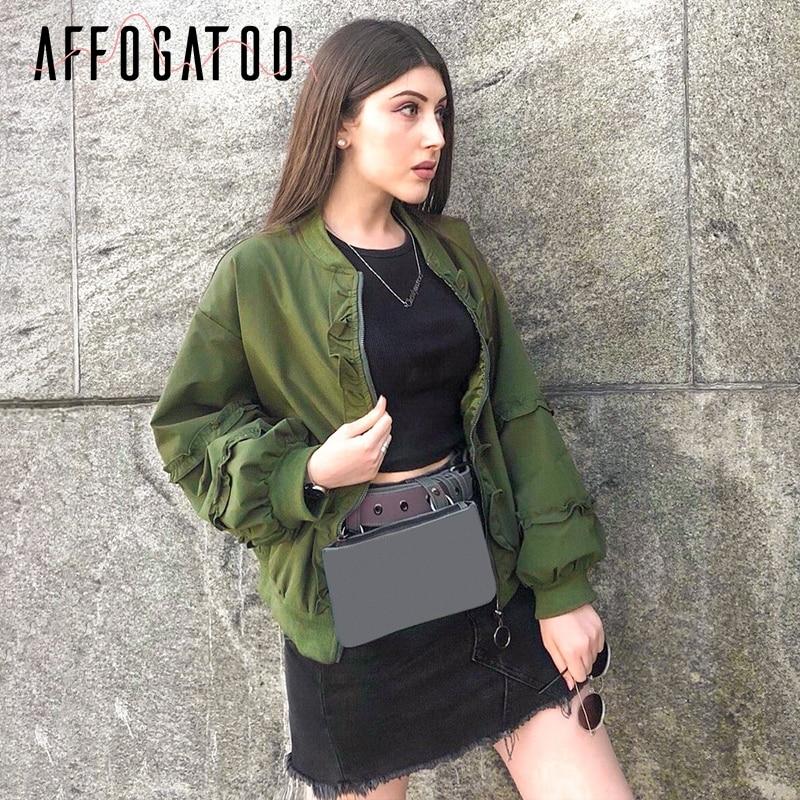 Affogatoo Casual Ruffle zipper women   basic     jacket   coat Long sleeve outwear windbreaker coat femme Autumn winter Ladies   jackets