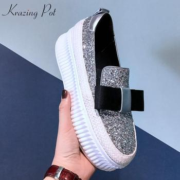Krazing Pot 2019 sequined cloth bling leisure bowtie decoration high quality sweety girl sneaker round toe vulcanized shoes L44