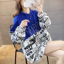 Харадзюку печати женщин толстовки весна осень готический панк негабаритных с капюшоном толстовка пуловер уличная L0775