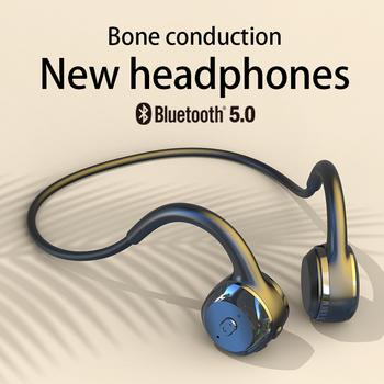 Dla Xiaomi Huawei Apple bezprzewodowe słuchawki przewodnictwo kostne Bluetooth Stereo wodoodporne słuchawki Audio Mp3 z mikrofonem muzycznym tanie i dobre opinie DOSII Zaczepiane na uchu Bone Conduction CN (pochodzenie) wireless Liniowa instrukcja obsługi Kabel do ładowania do 32Ω