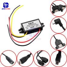 Diymore DC DC przekształtnik Buck moduł zasilania 12V do 5V 3A 15W dla samochodu mężczyzna kobieta USB Mini USB Adapter Micro USB