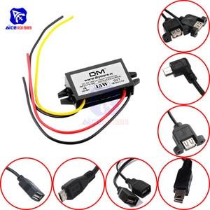 Image 1 - Diymore módulo de fuente de alimentación de DC DC, 12V a 5V, 3A, 15W, para coche, macho, hembra, USB, Mini convertidor Buck de reducción