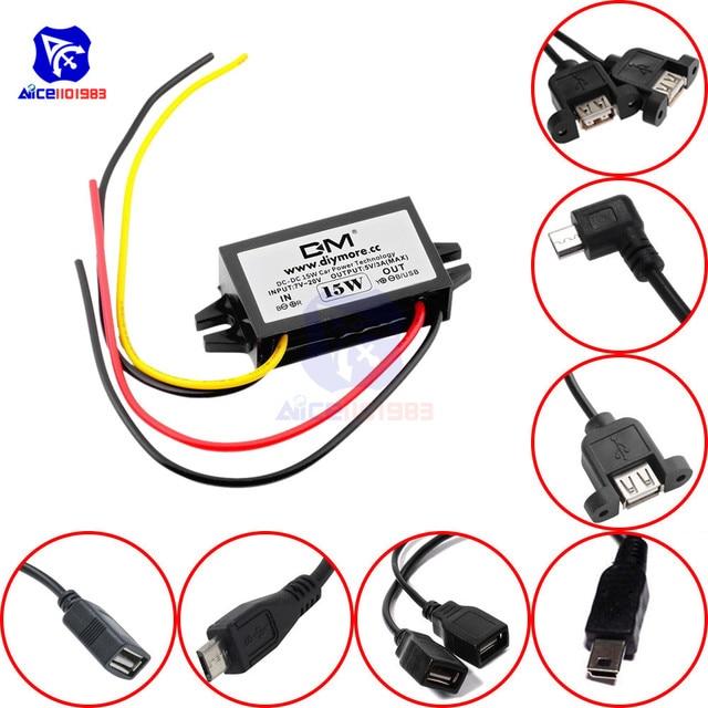 Diymore módulo de fuente de alimentación de DC DC, 12V a 5V, 3A, 15W, para coche, macho, hembra, USB, Mini convertidor Buck de reducción