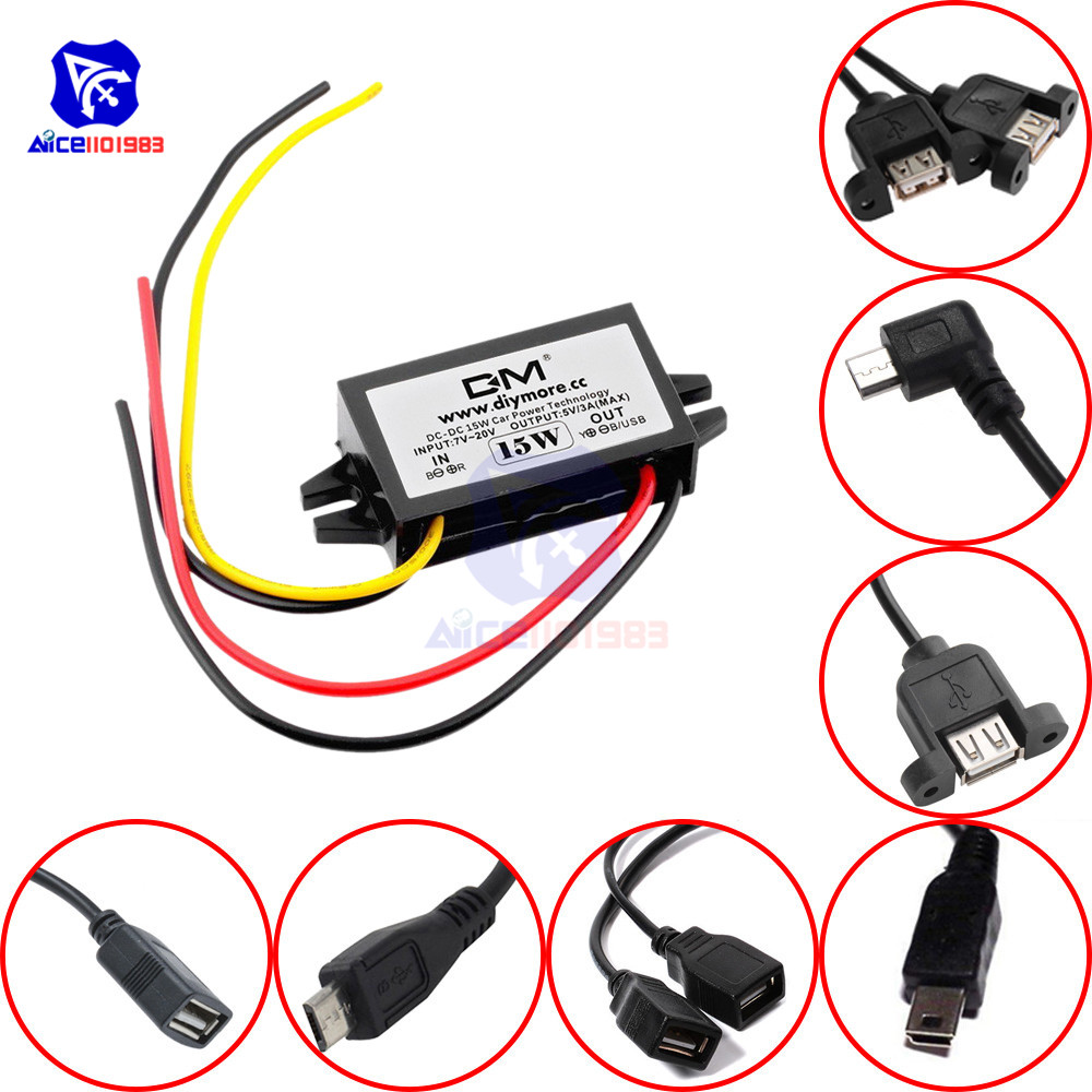diymore <font><b>DC</b></font>-<font><b>DC</b></font> Step Down Buck <font><b>Converter</b></font> <font><b>Power</b></font> Supply Module <font><b>12V</b></font> <font><b>to</b></font> <font><b>5V</b></font> <font><b>3A</b></font> 15W for <font><b>Car</b></font> Male Female USB Mini USB Micro USB <font><b>Adapter</b></font> image
