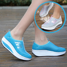 Women Wedges Toning Shoes Breathable Platform Swing Shoes Ultra-light Female Lazy Slimming Shoes Height Increasing