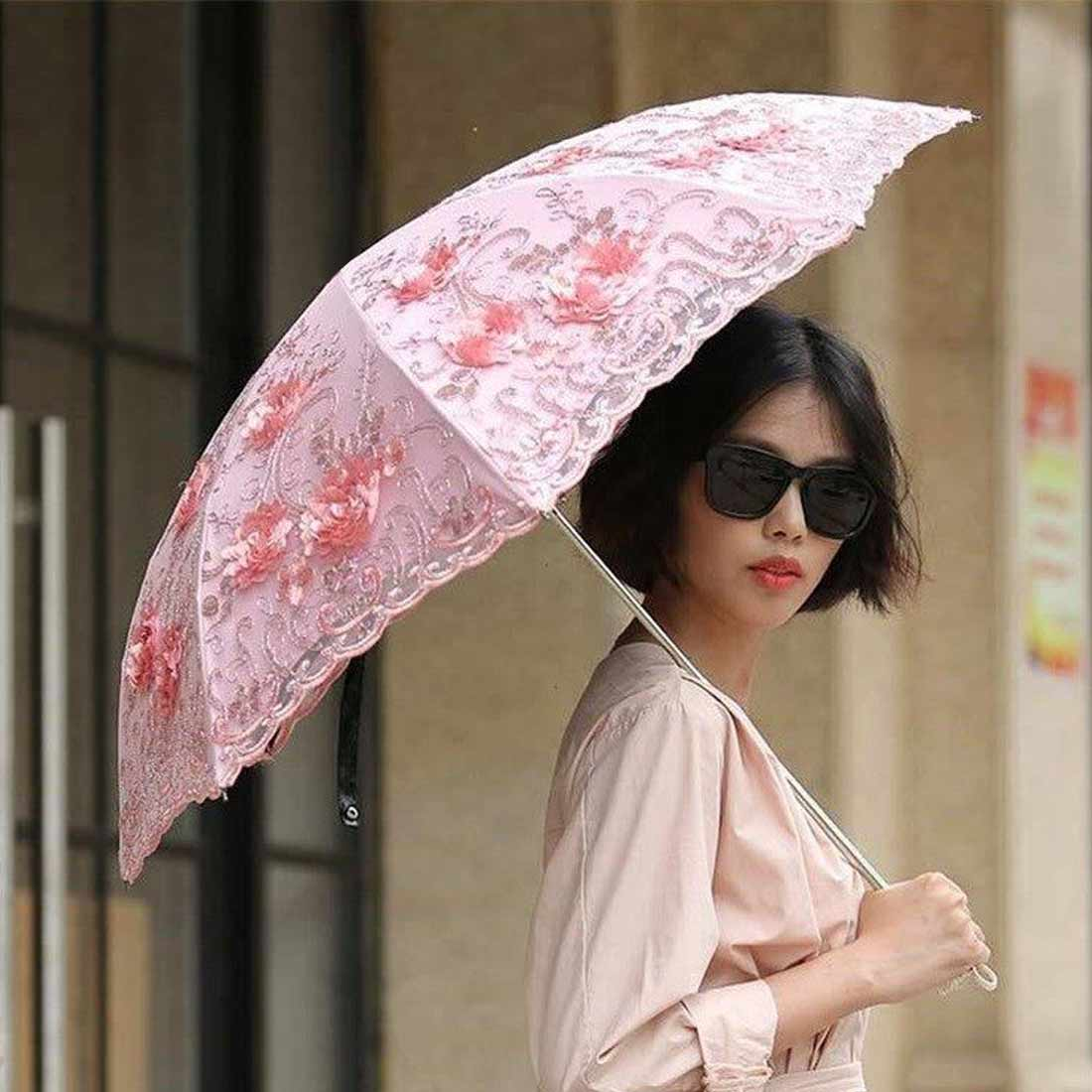Embroider Pink Flower Print Pocket Umbrella Lace Flower Folding Umbrellas For Women Folding UV Protection Rainy Umbrella