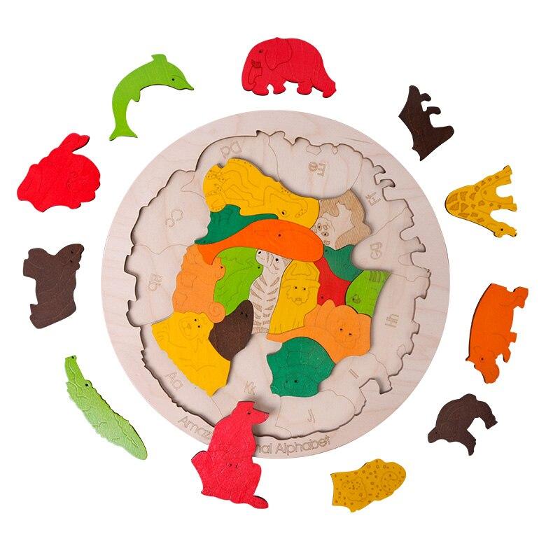 Heißer verkauf Super Große Tier Puzzles Holz Spielzeug 3D Puzzle Jigsaw für Kinder Baby Cartoon Tier Puzzles Frühen Pädagogisches Spielzeug