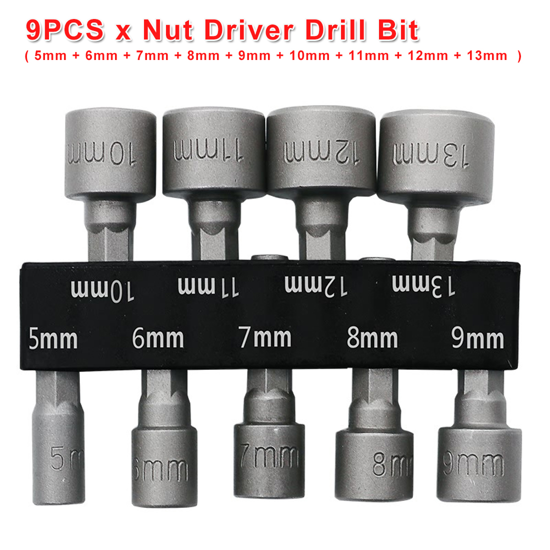 9pcs 1/4 Hex Shank Power Nut Driver Drill Bit Socket Wrench Screw 5-13mm Nut Driver Set Socket Adapter For Tighten/ Loose Screws