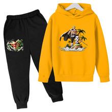 Zestawy ubrań dla dzieci Pop jednoczęściowy dres dla chłopca zestawy ubrań dla nastolatków ubranka dla niemowląt spadek modna bluza zestaw dla dziewczynki tanie tanio COTTON Damsko-męskie 4-6y 7-12y 12 + y Na co dzień CN (pochodzenie) Wiosna i jesień Z kapturem Brak 4T-14T Pełne REGULAR
