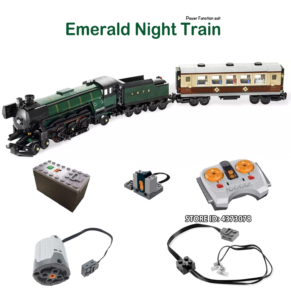 Technic City Series Emerald Night Train Set Power Function LED Light Building Kit Blocks Toys For Children CREATOR EXPERT Gifts