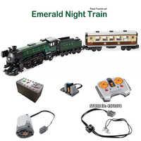 Technic City Series Emerald Night Train Set Power Function LED Light Building Kit Blocks Toys For Children CREATOR EXPERT Gifts