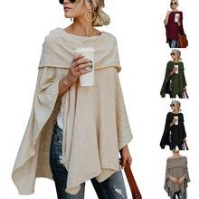 Вязаный плащ с открытыми плечами, необычный сексуальный женский свитер, Модный пуловер из полиэстера с вырезом лодочкой, женские осенние и зимние топы