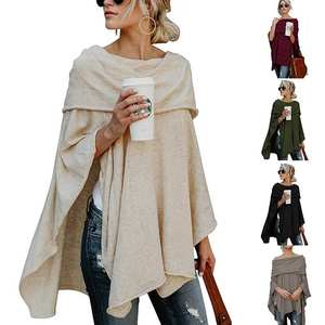 Knitted Cloak Winter Tops Women Sweater Pullover Ladies Irregular Sexy Off-Shoulder Slash-Neck