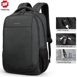 Новое поступление, мужской рюкзак 15,6 для ноутбука, рюкзаки для мужчин, Tigernu, Противоугонный модный школьный рюкзак, Женский однотонный рюкз...