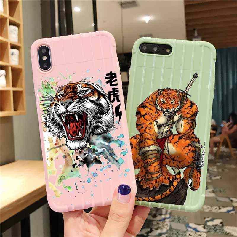 Tigre trole mala de viagem textura caso telefone iphone 11 pro max x xs max 8 7 6 s mais bonito doces cor embalagem