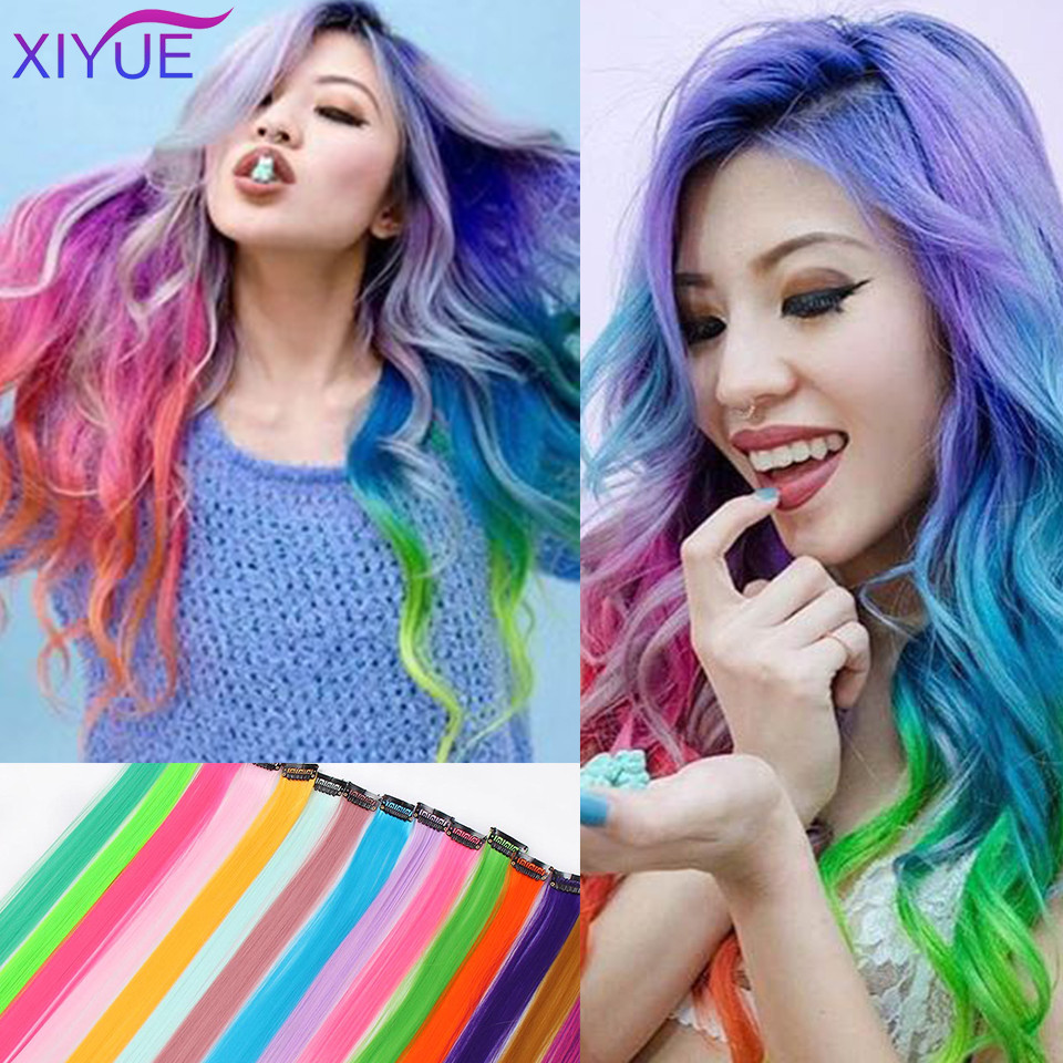 2020 Hot Sale Straight Clip In One Piece Long 20inches Colored Heat-Resistant Synthetic Extension Hair Rainbow Strand
