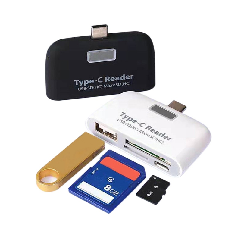 Alloy TYPE-C OTG Portable Card Reader SD/TF Memory Card Extension USB Adapter To USB COMBO Card Reader