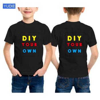 Niestandardowy nadruk T Shirt koszulki dziecięce urodziny dziecka t shirt twój własny projekt koszulki szkolna koszula dla chłopca dziewczyny ubrania dla dzieci tanie i dobre opinie COTTON Na co dzień Stałe REGULAR O-neck Topy Tees Krótki Pasuje prawda na wymiar weź swój normalny rozmiar Unisex