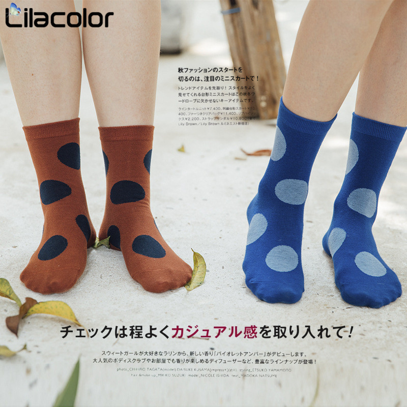 1 Pair Polka Dot Cotton Socks Autumn Winter Colorful Vintage Sock Women Soft Casual Cute Lady Harajuku Sox