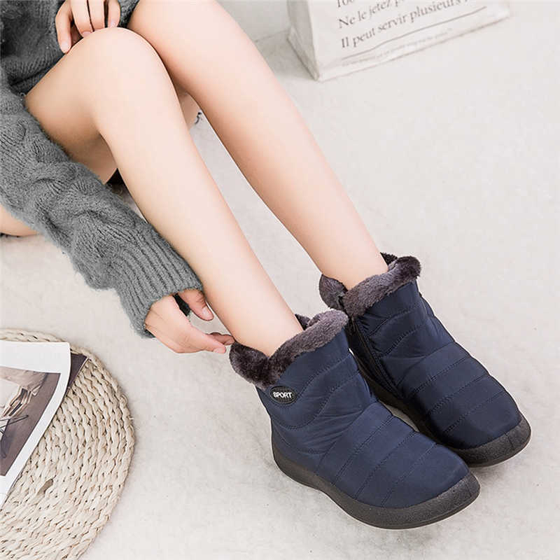 Botas Mujer Invierno 2019 Snow Boots Winter Ankle Short Bootie Waterproof Footwear Warm Shoes Solid Plus Size Bota Feminina #45