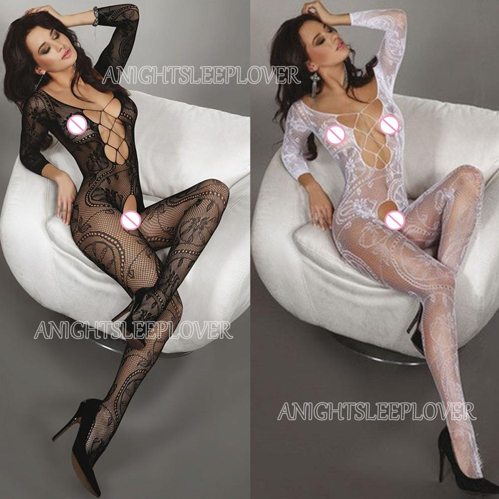 Top SaleSexy Bodystockings Women Fishnet Open Crotch catsuit Mesh tights Lingerie Erotic Bodysuit Sleepwear Crotchless jumpsuit Teddies