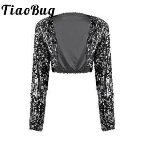 Image 1 - Kadınlar düğün gelin Shrug ceket parlak pullu ceket uzun kollu açık ön Glitter kırpılmış Blazer Bolero omuz silkme üstleri Clubwear
