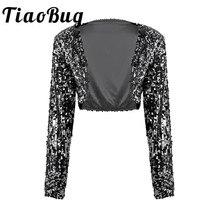 Manteau de mariée à paillettes pour femmes, Blazer court brillant à manches longues, ouvert devant pailleté, top boléro, vêtements de club
