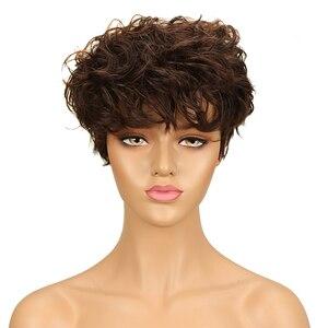 Image 2 - Trueme Brasiliano Pixie Cut Parrucca Rosso Blu Ombre Ondulati Dellonda di Remy Capelli Corti Parrucche Dei Capelli Umani Per Le Donne Nere di Moda parrucca piena