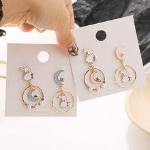 Brincos assimétricos bonitos para adolescentes mulheres coelho lua pérola estrela de cristal adorável brincos moda animal romântico jóias bt45t #34