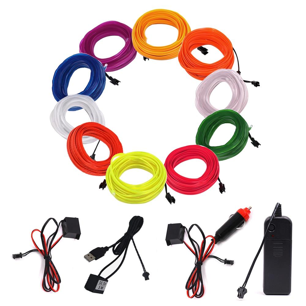 EL Wire LED Neon Light Flexible 6MM Light Strip 3V 5V 12V LED Rope Tube Sewable Tagled Lamp Dance Party Car Decor 1m 2m 3m 5m