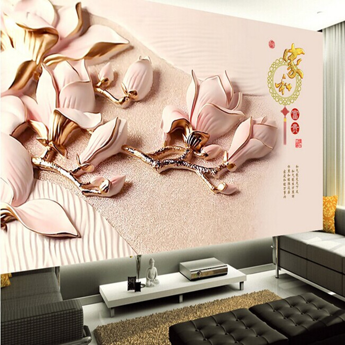 Dropship Photo Wallpaper Chinese House And Wealth 3D Wallpaper Mural TV Backdrop Sitting Room Bedroom Wallpaper Space Wall Mural