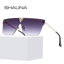 SHAUNA Fashion Crystal Rimless Sunglasses Brand Designer Cov