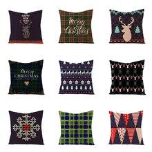 цены Pillowcase 45 * 45CM New Christmas Pillowcase Christmas Letter Elk Printed Pillowcase Holiday Decoration Pillowcase