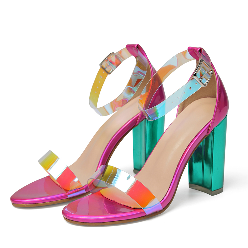 2019 Fashion Sexy Shoes Summer Women Sandals High Heels PVC Ankle Strap Women Shoes Peep Toe High Heels Party Wedding Shoes in High Heels from Shoes