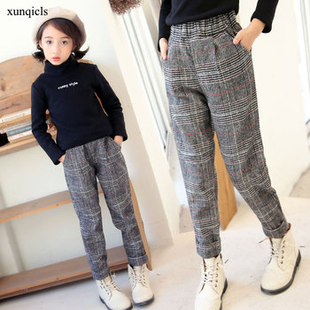 4 To13 New Children Pants for Girls Plaid Trousers Teenager Casual Pants Outwear Baby Girl Clothing Spring Autumn