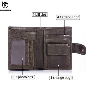Image 2 - Cartera de cuero BULLCAPTAIN RFID para hombre, billetera corta con tres pliegues y cremallera, cartera, bolsillo para monedas con clip