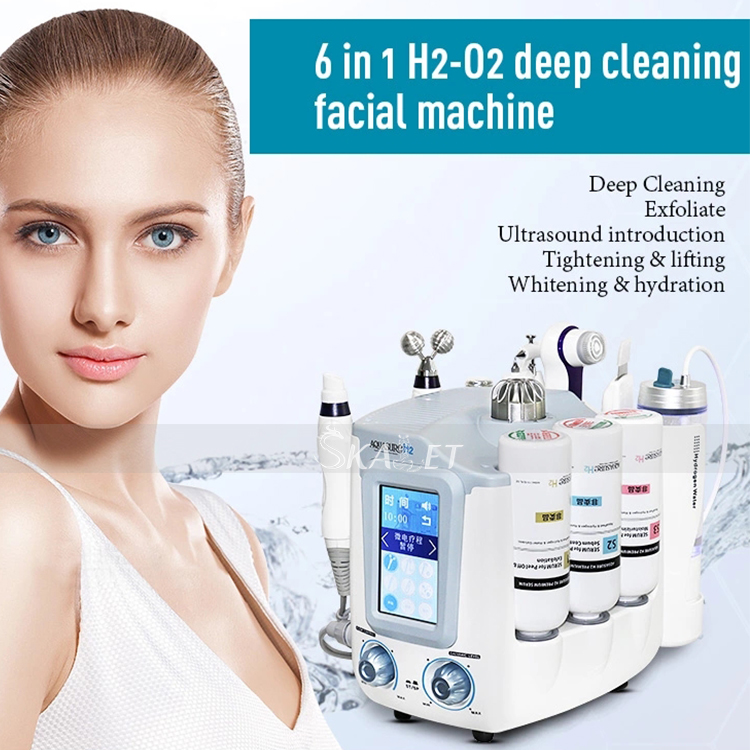Hottest 6 In 1 H2 O2 Hydro Dermabrasion Facial Peel For Skin Care Deep Clean Water Oxygen Jet Skin Rejuvenation Spa
