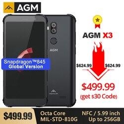 Agm x3 áspero MIL-STD smartphone 8g + 256g sdm845 octa núcleo 5.99 2424câmera 24mp caixa dupla alto-falante impermeável telefone nfc android 8.1