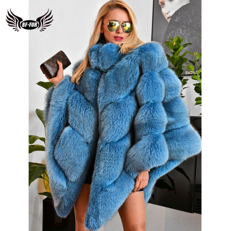 2019 Fashion Blue Real Fox Fur Cape For Women Winter Wholeskin Genuine Fox Fur Capes And Poncho Stand Collar Outwear Plus Size