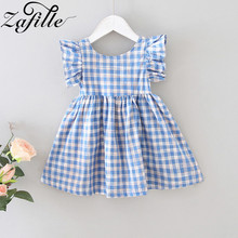 ZAFILLE 2020 New Girls Summer Dress Toddler Kids Clothes Flare Sleeve Baby Girl Dress Plaid Princess Cotton Baby Girl Clothes zafille new baby girl clothes summer dress for girls patchwork mesh girls dress short sleeve toddler kids clothes princess dress