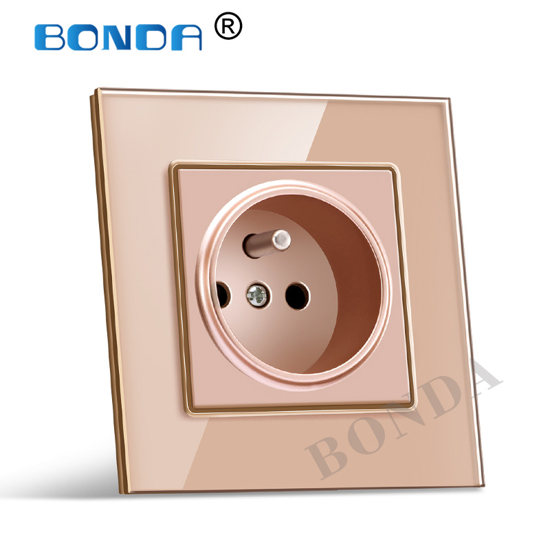 BONDA French standard white black gold crystal glass/plastic  panel AC 110 250V 16A wall power socket  2100ma wall power socket