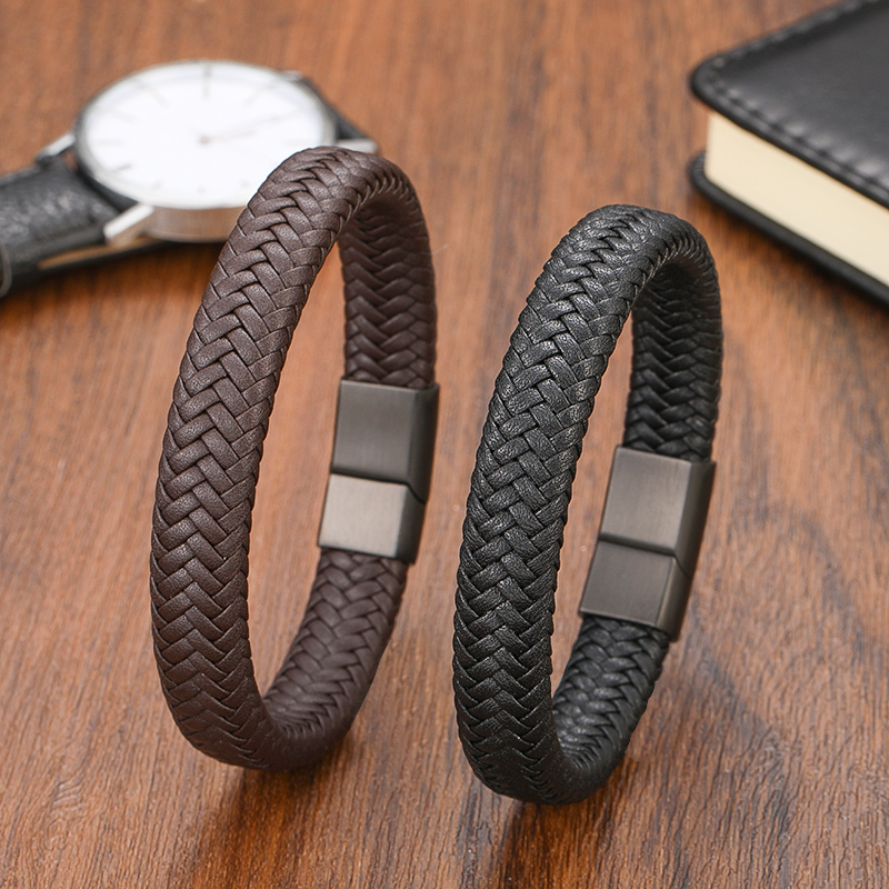 Punk Classic Bracelet 16 Strands Woven Genuine Leather Bracelet Men's Jewelry Design Stainless Steel Magnetic Clasp Rope Jewelry