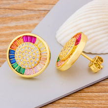 Bohemian Delicate Round Rainbow Crystal Rhinestone CZ Copper Stud Earring Gold Color Earrings For Women Girls Engagement Party new fashion delicate cute gold cz zircon crystal round stud earrings rainbow color romantic love earrings for women girls gift
