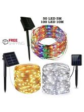 Outdoor Solar String Lights Waterproof 10M 100 LED Copper Wire Light String Christmas Wedding Bedroom Decoration Wire Lights