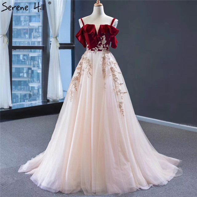 Wine Red Champagne Sleeveless Sexy Evening Dresses Handmade Flowers A Line Evening Gowns 2020 Serene Hill HM66998