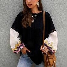 Fadzeco 2019 otoño e invierno nuevas camisetas de moda para mujer diseño original de punto de costura Camiseta de manga larga