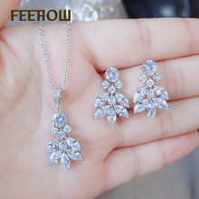 FEEHOW Clear Marquise Cut Top Quality Cubic Zirconia Earrings Pendant Necklace Set for Women Fashion Flower Jewelry FWNP2089
