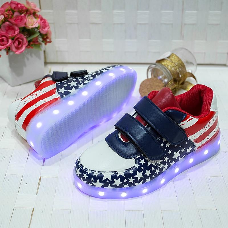 Shallow Blue Child LED Geometric Shoes Non Slip Casual Luminous Leisure Travel Novelty Girl&Boy Flat Walking Footwear