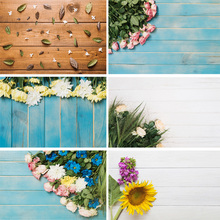 SHENGYONGBAO Vinyl Custom Photography Backdrops  Flower and Wooden Planks Theme Background 191030BV-004
