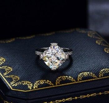 CMajor Sterling Silver Synthetic Diamond Jewelry Temperament 14ct Imitation Diamond White Square 11*11 Classic Ring for Women